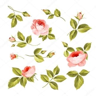 Наклейка Розы и листики  - фото