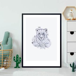 Постер Черно-белый рисунок львицы  - фото 2
