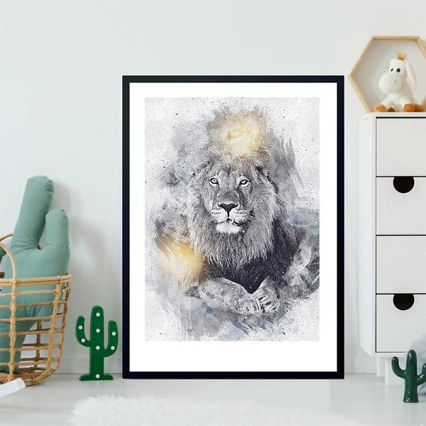 Постер Винтажный рисунок льва  - фото 2