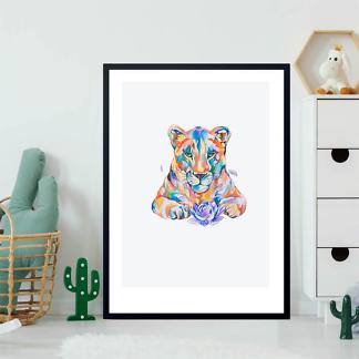 Постер Цветной рисунок львицы  - фото 2