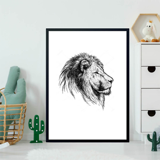 Постер Гравировка льва  - фото 2