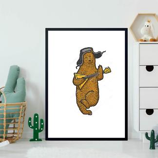Постер Медведь с балалайкой в цвете  - фото 2