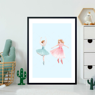 Постер Две балерины на голубом фоне  - фото 2