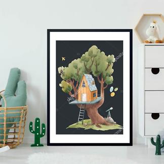 Постер Оранжевый домик на дереве на черном фоне  - фото 2