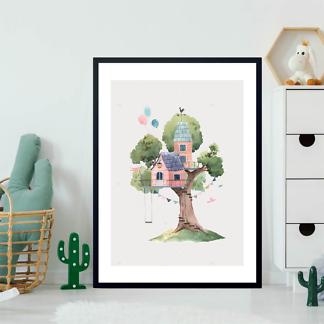 Постер Розовый домик на дереве на бежевом фоне  - фото 2