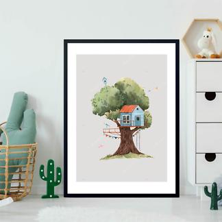 Постер Голубой домик на дереве на бежевом фоне  - фото 2