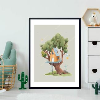 Постер Оранжевый домик на дереве на бежевом фоне  - фото 2