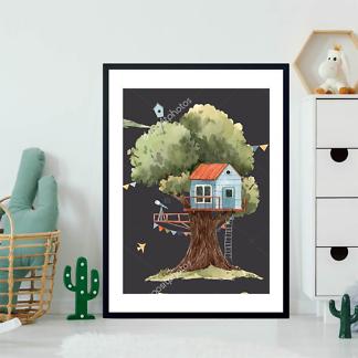 Постер Голубой домик на дереве на черном фоне  - фото 2