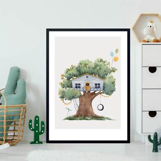Постер Серый домик на дереве  на бежевом фоне  - фото 2