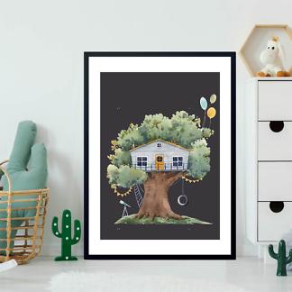 Постер Серый домик на дереве на черном фоне  - фото 2