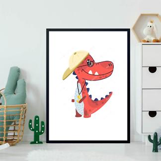 Постер Крутой динозавр в кепке  - фото 2
