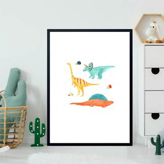 Постер Три акварельных динозавра  - фото 2
