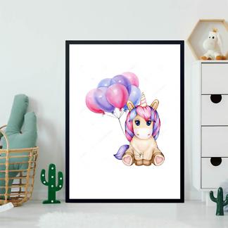 Постер Малыш Единорог с шариками  - фото 2