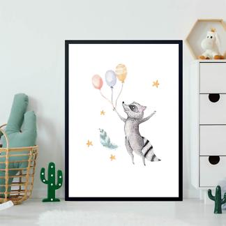 Постер Енот с шариками  - фото 2