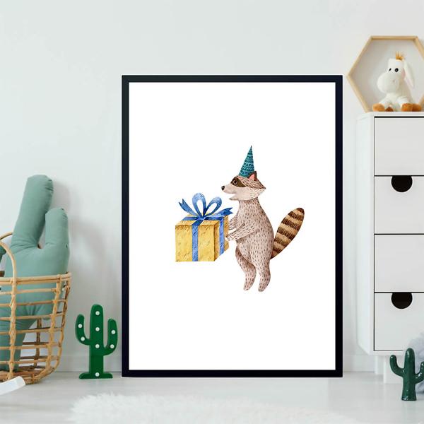 Постер Енот с подарком  - фото 2