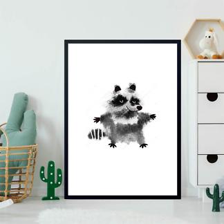 Постер Енот акварель  - фото 2
