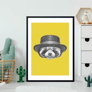 Постер Енот в очках и шляпе  - фото 2
