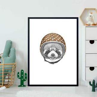 Постер Енот шлеме в горошек  - фото 2