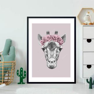 Портрет жирафа с цветочным венком  - фото 2