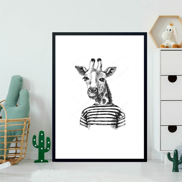 Постер Рисунок хипстера-жирафа  - фото 2