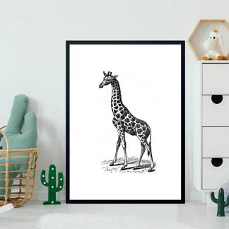 Постер Винтажное изображение жирафа  - фото 2