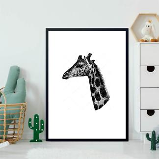 Постер Винтажный портрет жирафа  - фото 2