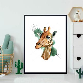 Постер Жираф на акварельном фоне  - фото 2