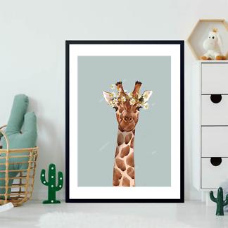 Постер Жираф с цветком на голубом фоне  - фото 2