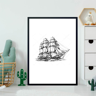 Картина Корабль черно-белый  - фото 2