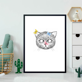 Постер Кот с бабочками  - фото 2