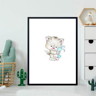 Постер Котенок с кроликом  - фото 2