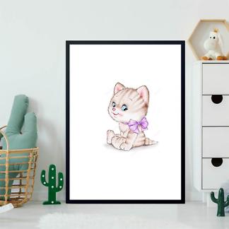 Постер Котенок с фиолетовым бантом  - фото 2