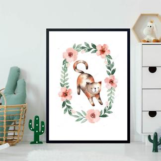 Постер Кошка в цветочной раме  - фото 2