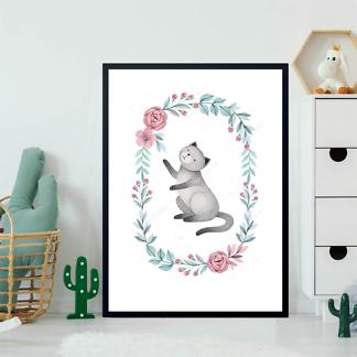 Постер Кошка в цветочной раме — 2  - фото 2