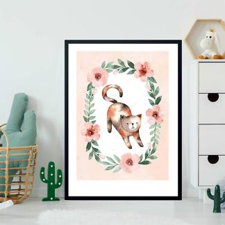 Постер Кошка в цветочной раме — 3  - фото 2