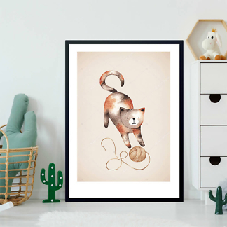 Постер Кошка играет с клубком на коричневом фоне  - фото 2