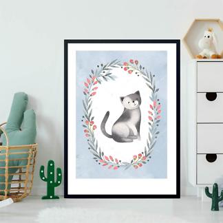Постер Кошка в цветочной раме — 4  - фото 2