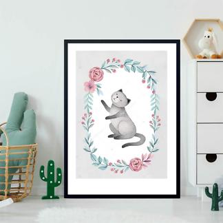 Постер Кошка в цветочной раме — 7  - фото 2