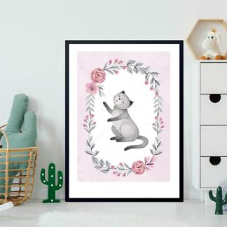 Постер Кошка в цветочной раме — 5  - фото 2