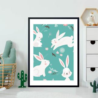 Постер Кролики на бирюзовом фоне  - фото 2