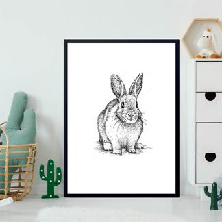 Постер Кролик черно-белый  - фото 2