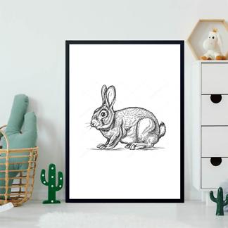 Постер Кролик в стиле гравировки  - фото 2