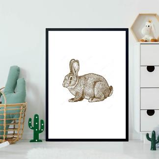 Постер Кролик гравировка  - фото 2