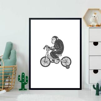 Постер Шимпанзе на велосипеде  - фото 2