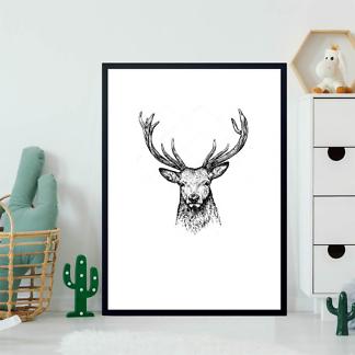 Постер Черно-белый портрет оленя  - фото 2