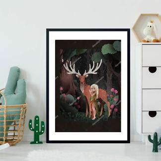 Постер Cказка девочка и олень на черном фоне  - фото 2