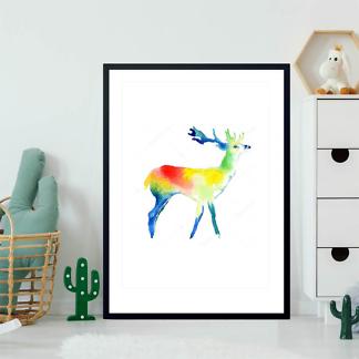 Постер Цветной акварельный олень  - фото 2