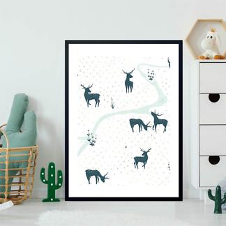Постер Акварельные силуэты оленей  - фото 2