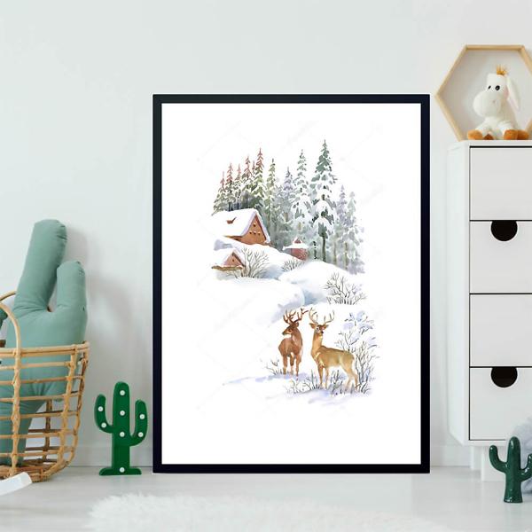 Постер Зимний пейзаж с оленями  - фото 2