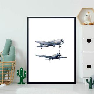 Постер Акварельные самолеты  - фото 2